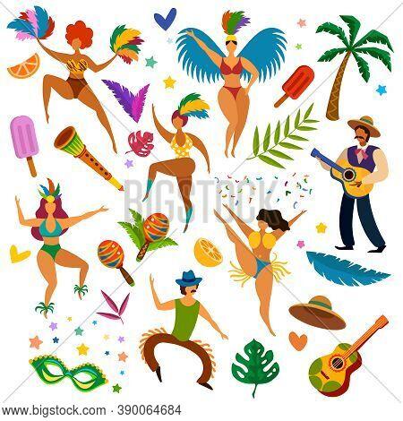 Brazilian Carnival. Latino Festival Masquerade Items, Mask And Feathers. Women Dancers, Music Instru