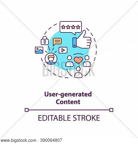 User-generated Content Concept Icon. Influencer Marketing Agency Service Idea Thin Line Illustration