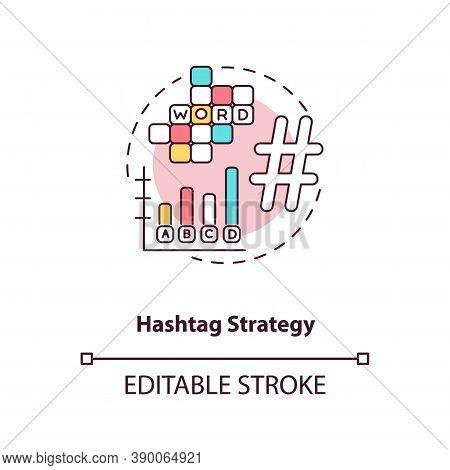 Hashtag Strategy Concept Icon. Becoming Nanoinfluencer Tip Idea Thin Line Illustration. Proper Hasht