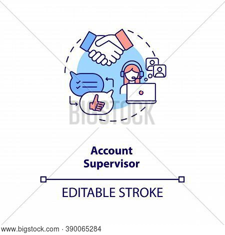 Account Supervisor Concept Icon. Account Management Idea Thin Line Illustration. Planning. Maintaini