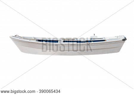 White Wooden Fishing Boat Isolated On White Background