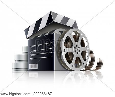 Cinematography or online cinema concept. Movie black box as producer clapper disc with retro movies film-strip, isolated on white background. 3D illustration.