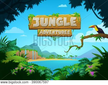 Bright Colorful Tropical Jungle Adventures Poster Design With Bird On A Tree Overlooking A Jungle, B