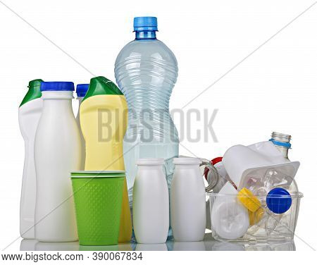Household Waste Sorting Concept. Waste Of Various Plastic Isolated On White Background