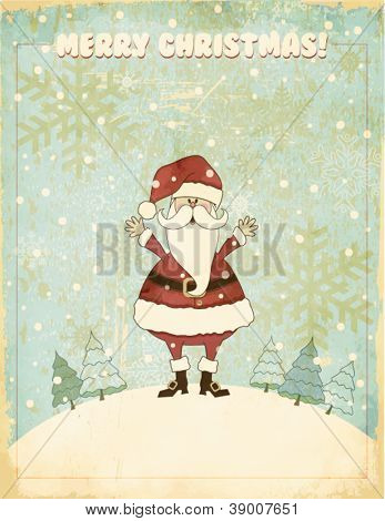 Retro Christmas and New Years Greeting Card - Santa Clause wishing you a merry Christmas against snowy, vintage backdrop