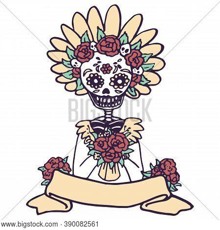 Dead Skeleton Woman On White Isolated Backdrop. Santa Muerte Calavera For Invitation Or Gift Card, N