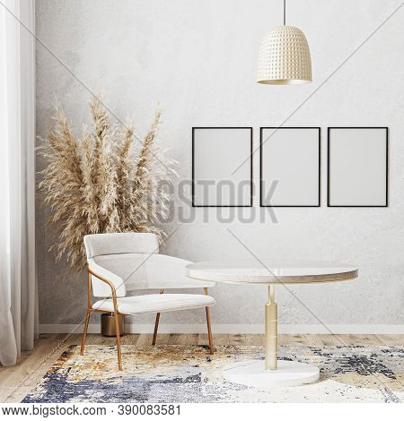 Blank Poster Frame Mockup In Bright Room With Luxury Round Dinning Table, White Chair, Modern Design