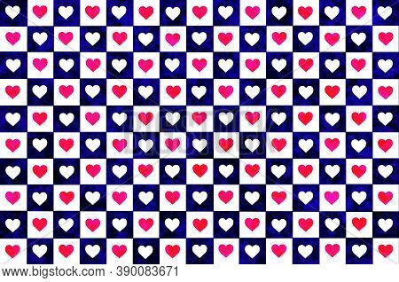 Blue White Pink Red Checkered Background With Hearts. Checkered Texture. Space For Graphic Design An