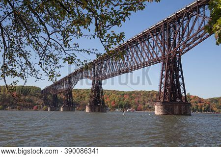Looking West At The Poughkeepsie Railroad Bridge Also Known As The Walkway Over The Hudson.