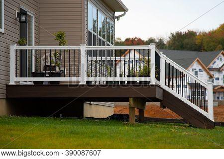 White Veranda And Railing Posts Porch Wall