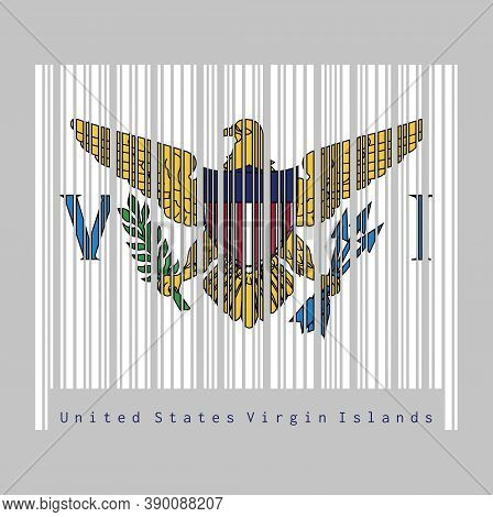 Barcode Set The Color Of Virgin Islands Flag, The Coat Of Arms Of The United States Between The Lett