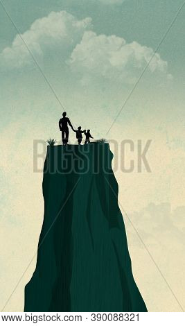 A Single Widower Father Is Seen With His Two Children On The Top Of A Mesa Feeling Lost And Alone. I