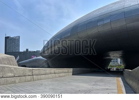 Seoul, South Korea - May 2, 2017: Dongdaemun Design Plaza (DDP) cultural and entertainment complex. Modern architectural landmark