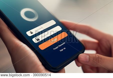 Close Up Of Hand Holding Smartphone And Screen Applications With Unlocking Mobile Phones. Concept Of