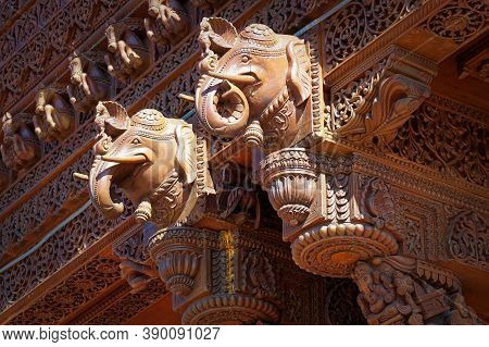 Toronto, Canada - 06 26 2016: Part Of Decoration Of Baps Shri Swaminarayan Mandir In Toronto, Canada