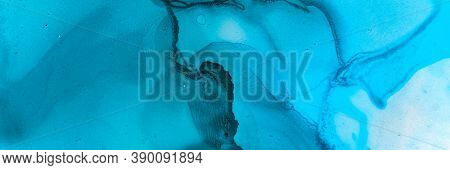 Abstract Teal Background. Watercolour Illustration. Blue Underwater Texture. Sophisticated Wave Pain