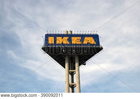 Bang Phli, Samut Prakan, Thailand, Jan 7, 2018 : High Triangle Sign Of Yellow And Blue Color Ikea In
