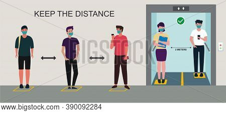 Social Distancing Signs In The Elevator During Coronavirus (covid-19) Pandemic. People Maintain Soci