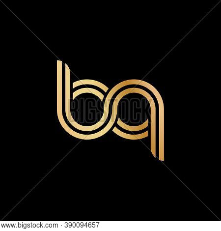Lowercase Letters B And Q. Flat Bound Design In A Golden Hue For A Logo, Brand, Or Logo. Vector Illu