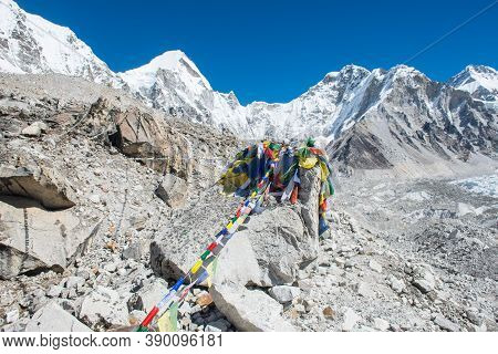 Beautiful Landscape At Everest Base Camp The Place Are Used By Mountain Climbers During Their Ascent