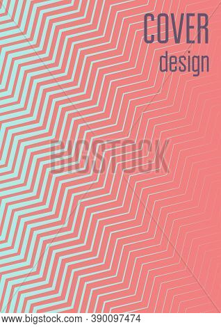 Abstract Minimal Cover With Geometric Waves And Gradients. Trendy Layout With Halftone. Abstract Min