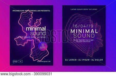 Music Fest. Dynamic Fluid Shape And Line. Curvy Concert Cover Set. Music Fest Neon Flyer. Electro Da