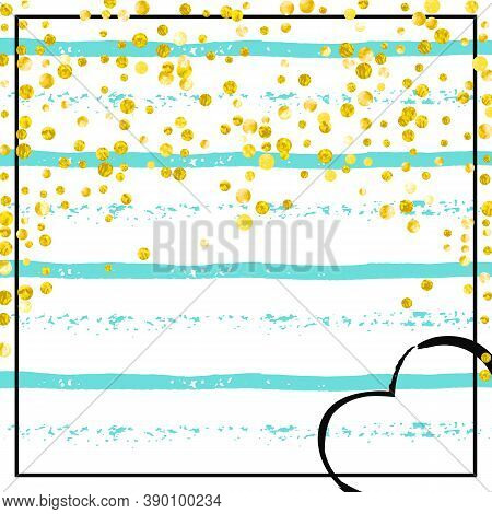 Wedding Glitter Confetti With Dots On Turquoise Stripes. Random Falling Sequins With Metallic Shimme
