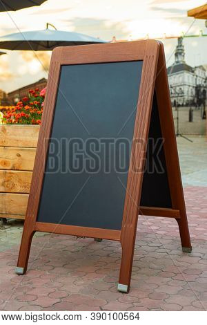 Empty Restaurant Menu Blackboard On The Street, Menu Chalkboard Mockup, Menu Board Template