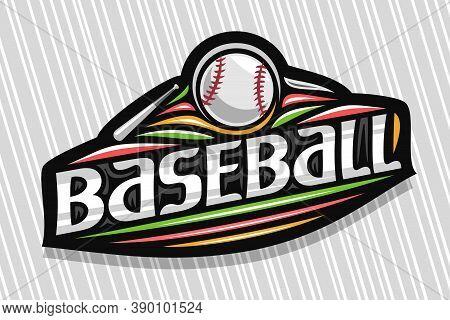 Vector Logo For Baseball Sport, Dark Modern Emblem With Illustration Of Flying Ball In Goal, Unique