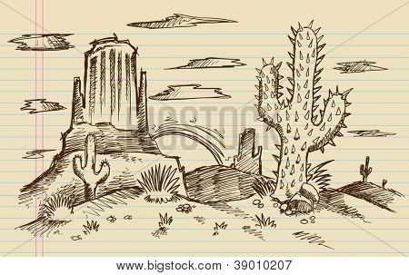 Western Cartoon Landscape Sketch Doodle Vector