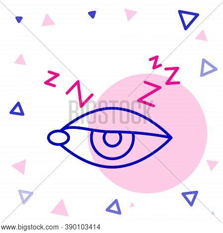 Line Insomnia Icon Isolated On White Background. Sleep Disorder With Capillaries And Pupils. Fatigue
