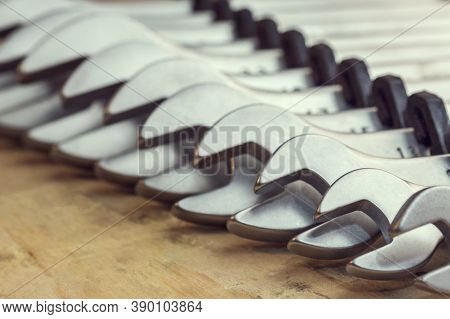 Spanners. Many Wrenches. Industrial Background. Set Of Wrench Tool Equipment. Set Of Wrenches In Dif