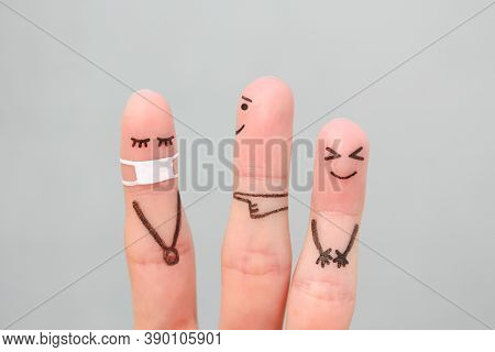 Fingers Art Of People. Concept Children Bullying Their Classmate In Medical Mask From Covid-2019.