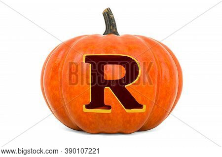 Letter R Halloween Font. Pumpkin With Carved Letter, 3d Rendering Isolated On White Background