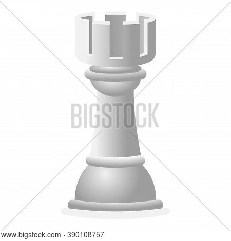 White Chess Rook Icon. Cartoon Of White Chess Rook Vector Icon For Web Design Isolated On White Back