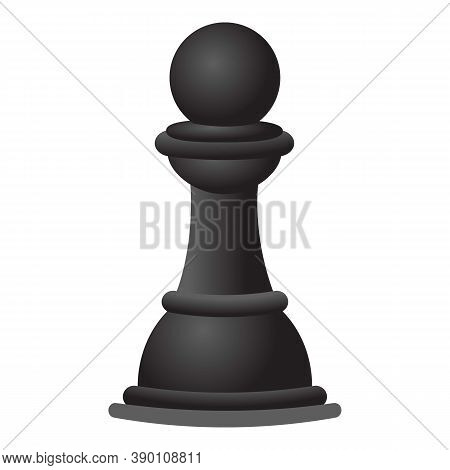 Black Chess Pawn Icon. Cartoon Of Black Chess Pawn Vector Icon For Web Design Isolated On White Back
