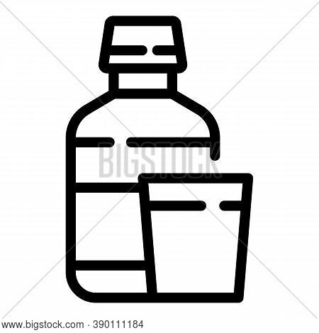 Mouthwash Bottle Glass Icon. Outline Mouthwash Bottle Glass Vector Icon For Web Design Isolated On W