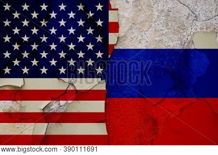 Political Relations Between Russia And The United States Of America By Flags.
