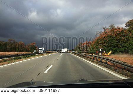 Munich, Bavaria, Germany - 07 Sep 2015: High Speed Autobahn In Germany