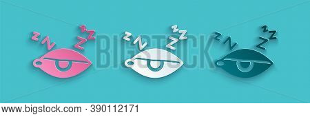 Paper Cut Insomnia Icon Isolated On Blue Background. Sleep Disorder With Capillaries And Pupils. Fat