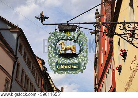 Rotenburg On Tauber, Bavaria, Germany - 12 Sep 2015: The Vintage Plate In Rotenburg On Tauber In Ger