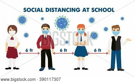 Back To School New Normal Lifestyle Concept. Students Wearing Masks Stand At Social Distance. Kids W