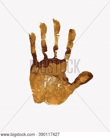 Brown Palm And Finger Print On White Background, Grunge Vector Illustration. The Imprint Of A Human