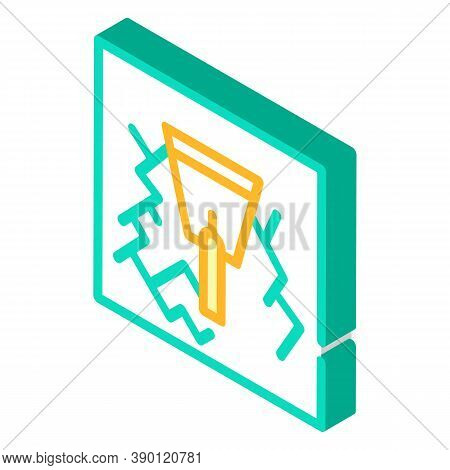 Wall Gaps Plaster Isometric Icon Vector Illustration