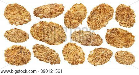 Bran Flakes Collection Isolated On White Background