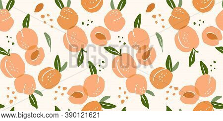 Vector Seamless Pattern With Peaches. Modern Abstract Design For Paper, Cover, Fabric, Interior Deco