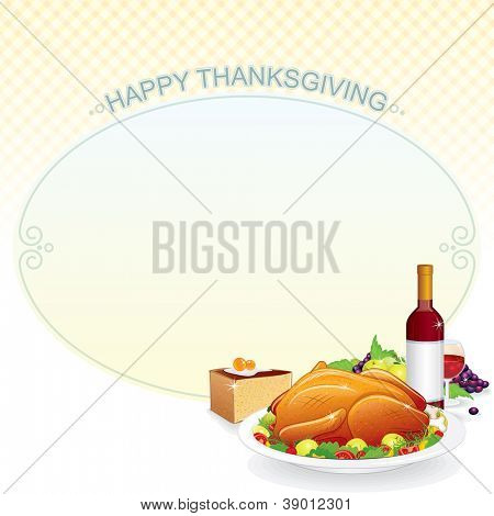 Thanksgiving Vector Background. Illustration with Roast Turkey on the Plate, Pie and Wine