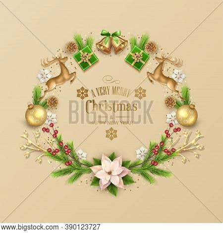 Christmas Card With Composition Made Of Pine Branches, Gold Figurine Of A Deer And Decorations