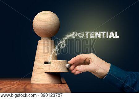 Coach Unlock And Open Hidden Potential - Motivation Concept. Coach (manager, Mentor, Hr Specialist)