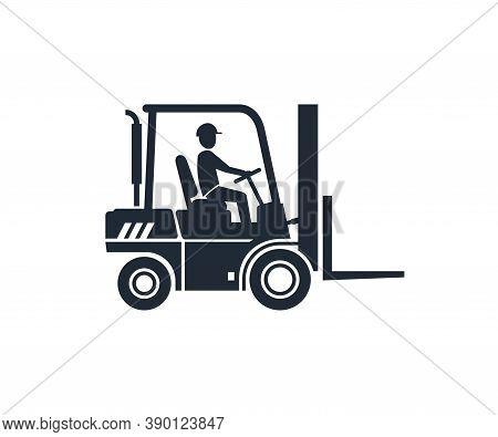 Forklift Icon - Warehouse Packaging Loader Silhouette With Driver - Monochrome Vector Truck Sign